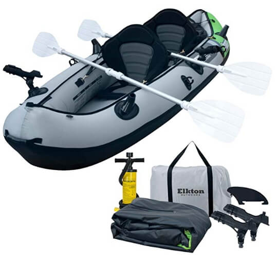 Elkton Outdoors Cormorant 2 Person Tandem Inflatable Fishing Kayak