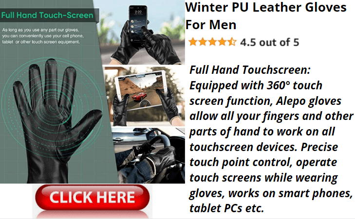Winter PU Leather Gloves For Men